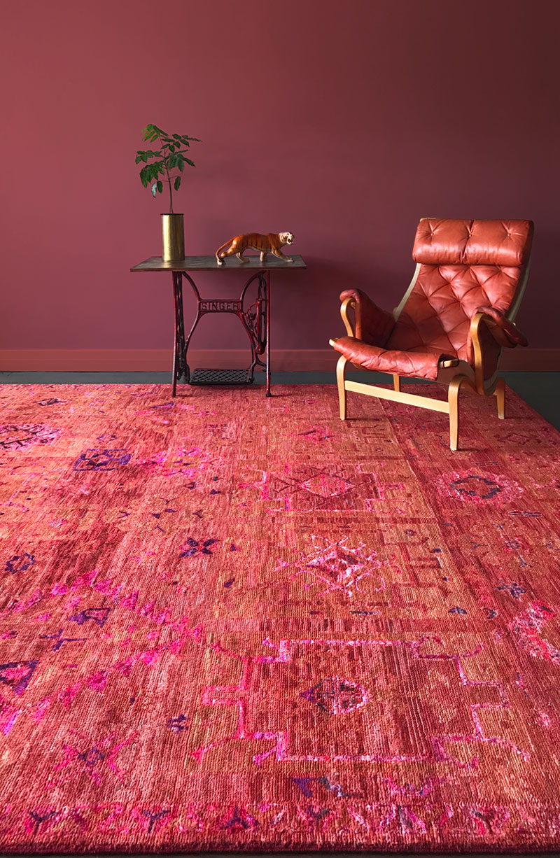 Red and orange modern tribal rug