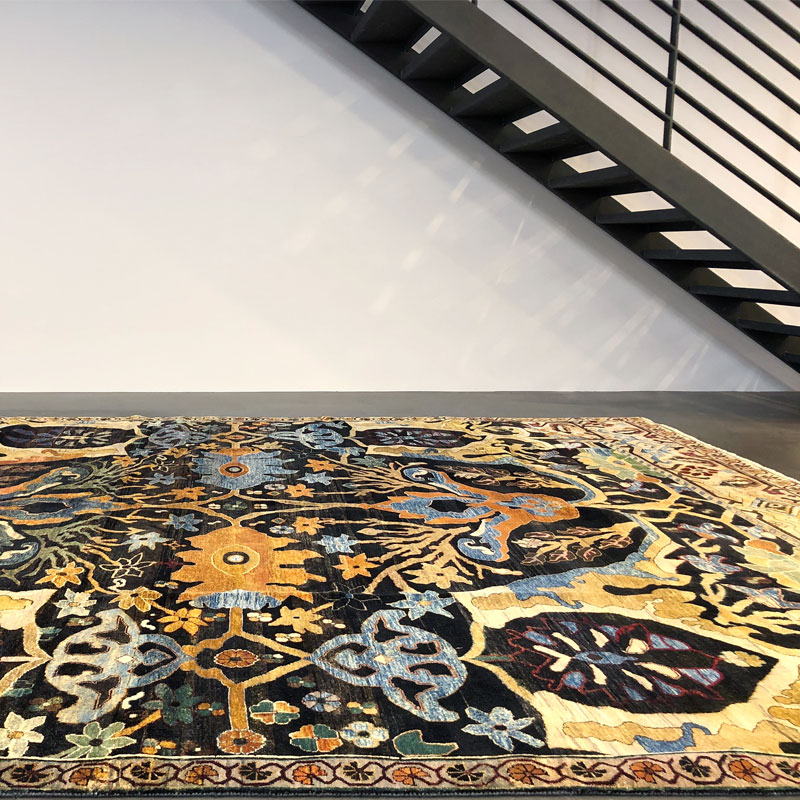 Traditional, rich yellows, brown, wool rug