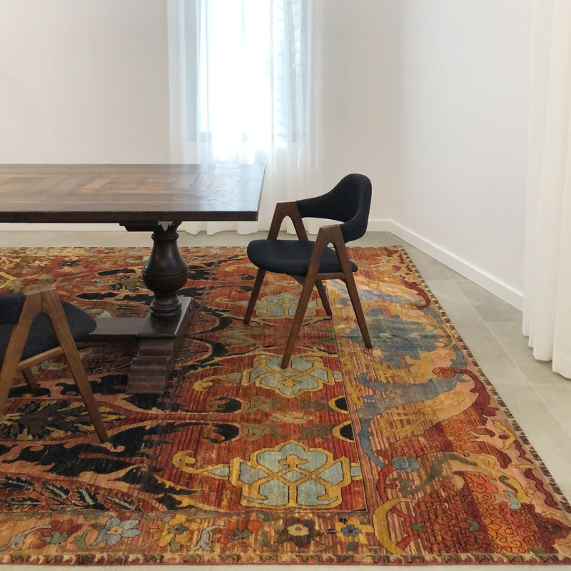 Traditional, jewel tones, low pile, wool rug