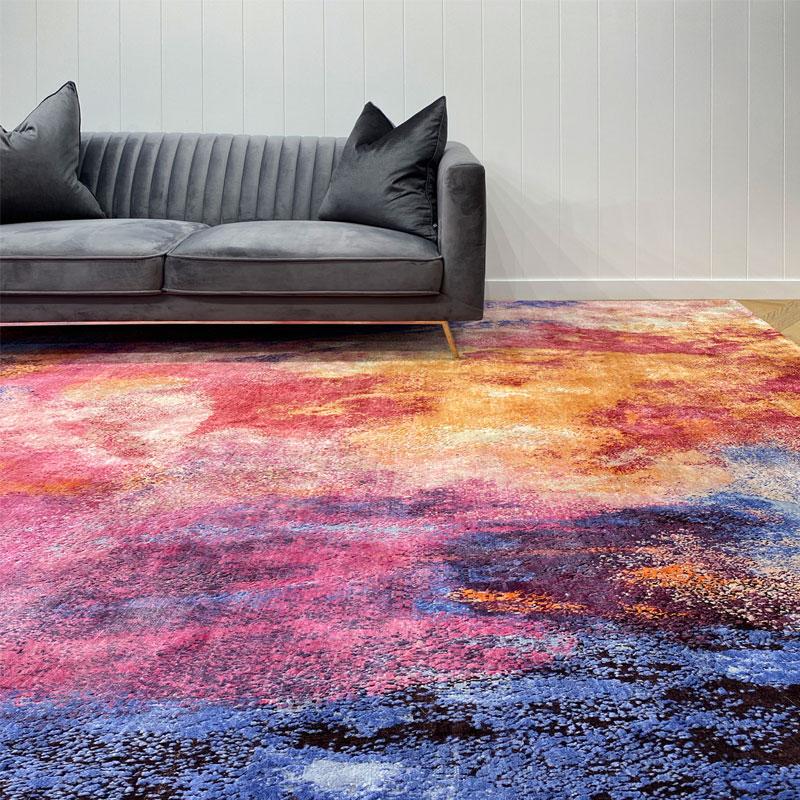 Luxurious wool and silk, indigo, pink, orange rug