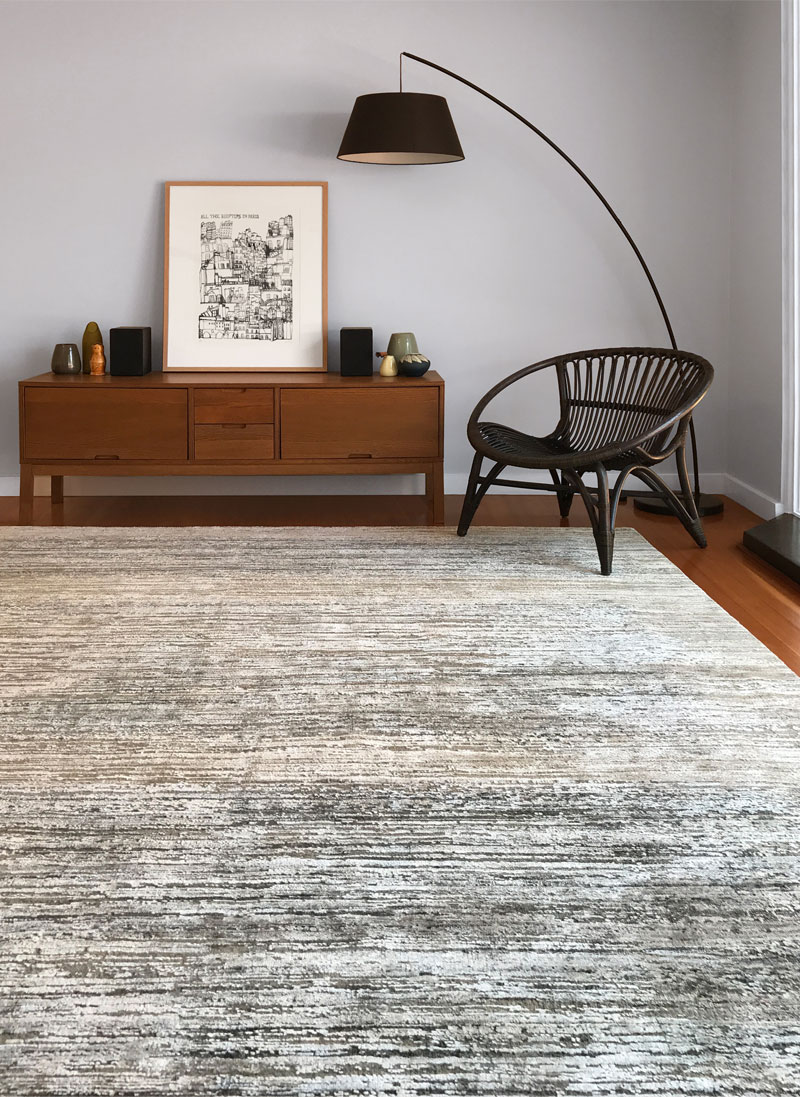 Wool and Silk  Brown Grey Neutral textured rug