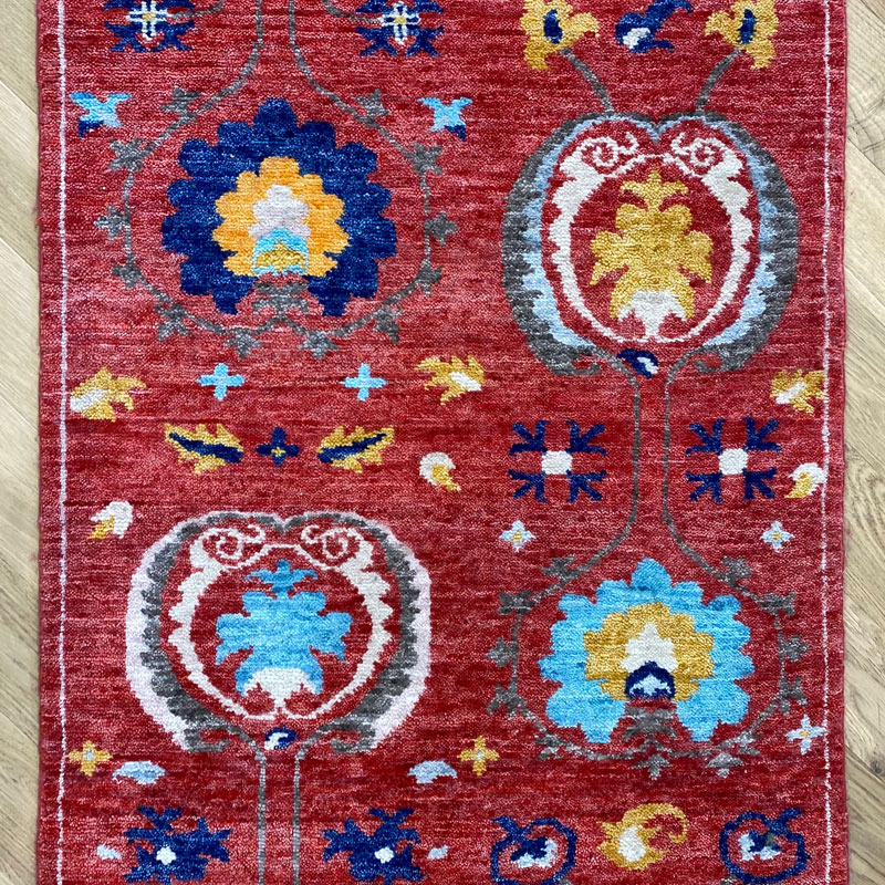 Traditional floral motife red, blue and yellow runner
