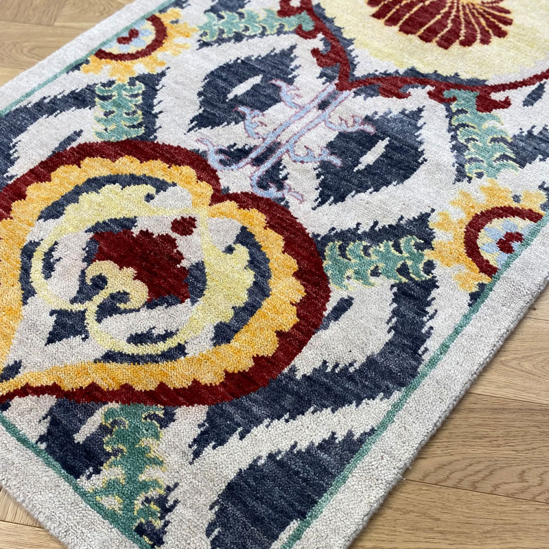 Traditional motif red, blue and yellow rug