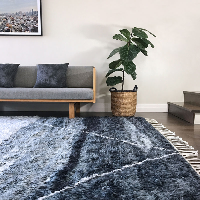 Charcoal Grey and White high pile wool rug