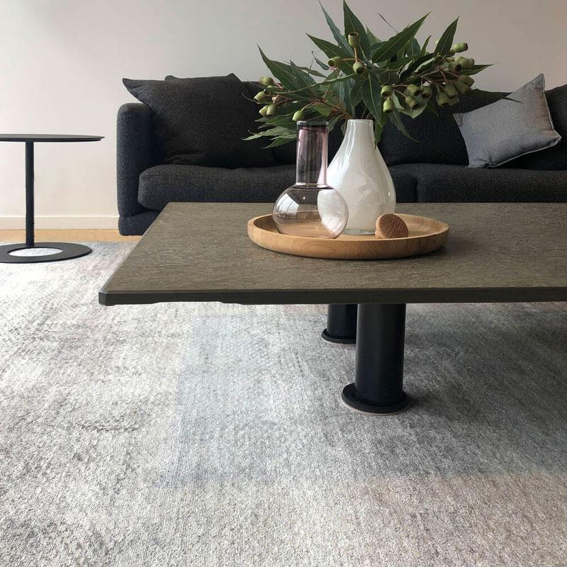 Wool and silk elegant charcoal rug