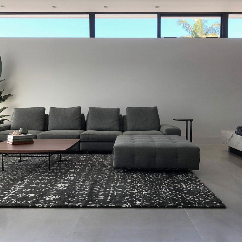 Wool and silk modern black and white tribal design rug