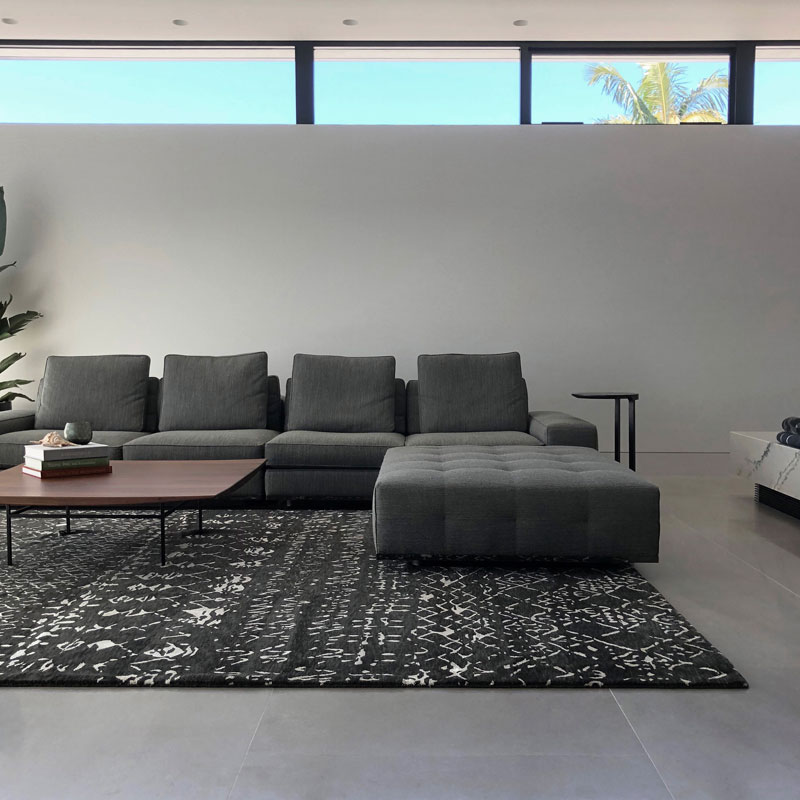 black and white tribal rug