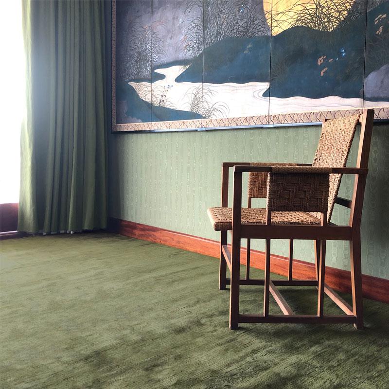 Luxurious, soft, green mohair rug