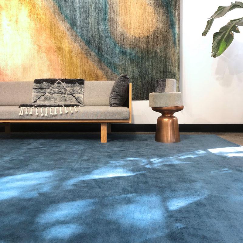 Luxurious, deep pile, sea blue, mohair rug
