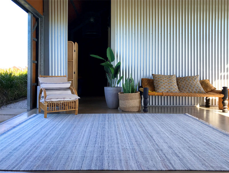 Sky Blue and White outdoor rug